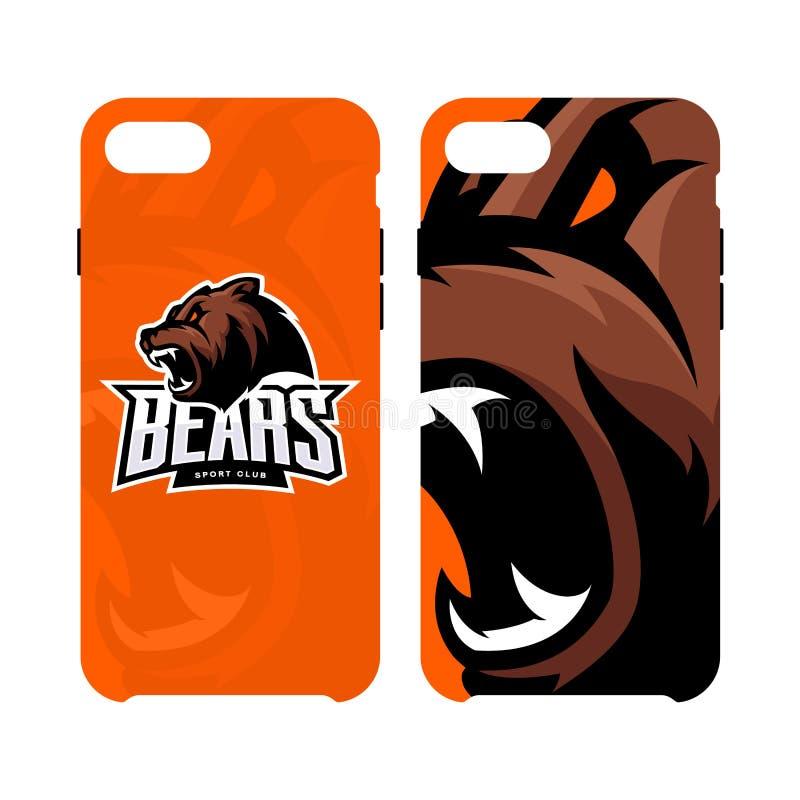 Fall för telefon för rasande för björnsportvektor som begrepp för logo smart isoleras på vit bakgrund royaltyfri illustrationer