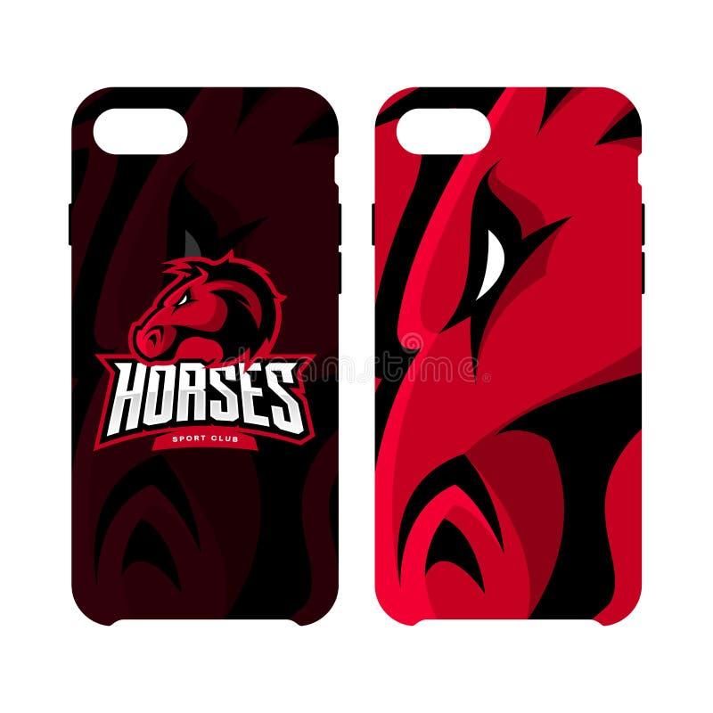 Fall för telefon för rasande för hästsportklubba som för vektor begrepp för logo smart isoleras på vit bakgrund royaltyfri illustrationer