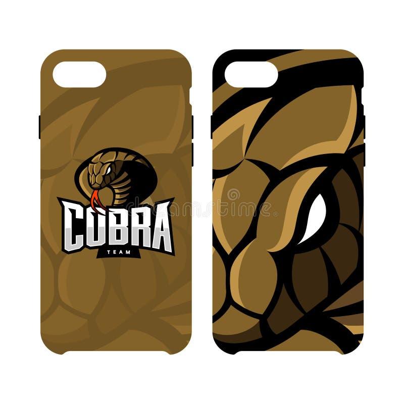 Fall för telefon för rasande för kobrasportvektor som begrepp för logo smart isoleras på vit bakgrund royaltyfri illustrationer