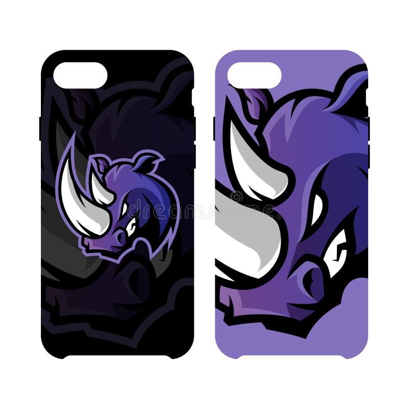 Fall för telefon för rasande för noshörningsportvektor som begrepp för logo smart isoleras på vit bakgrund royaltyfri illustrationer