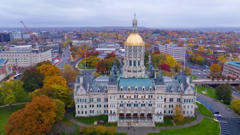 Fall-Farbe Autumn Season Zustands-Kapitol-Hauben-Hartfords Connecticut stockbild