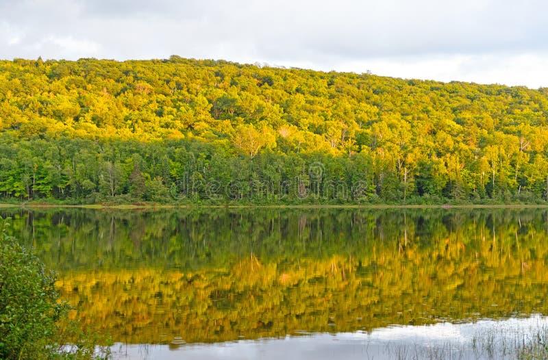 Fall-Farben bei Sonnenuntergang auf einem Wilderness See lizenzfreie stockfotografie