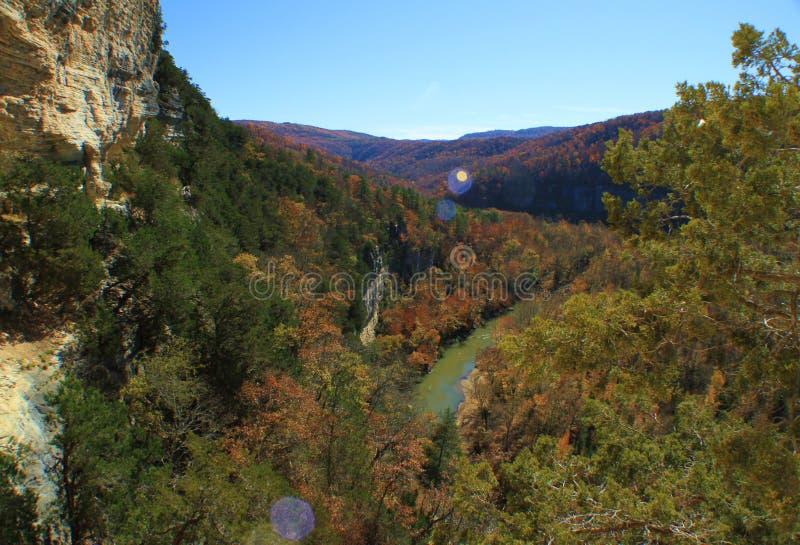 Fall-Farben im Büffel-Staatsangehörigen River Valley stockbilder