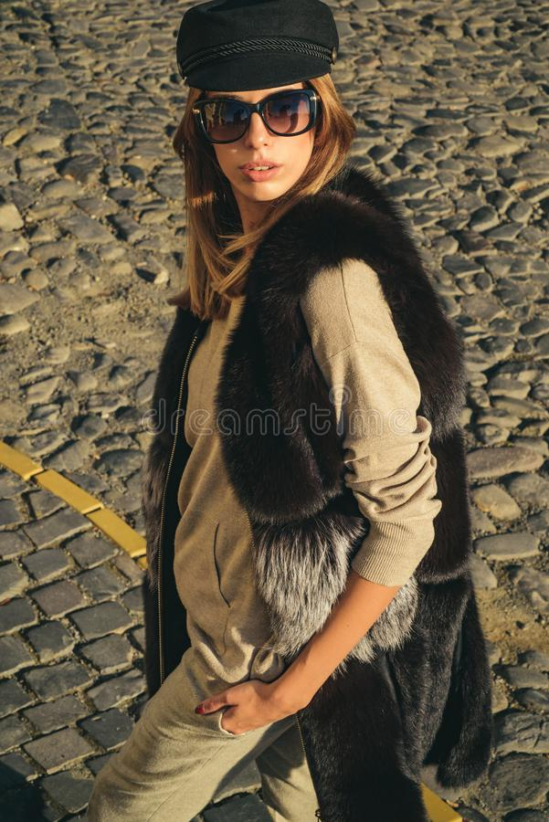 Fall fashion accessory. Enjoy fall season. Woman enjoy sunny day outdoors. Fall outfit. Modern casual outfit. Autumn. Season clothes. Pretty woman in hat and stock photos