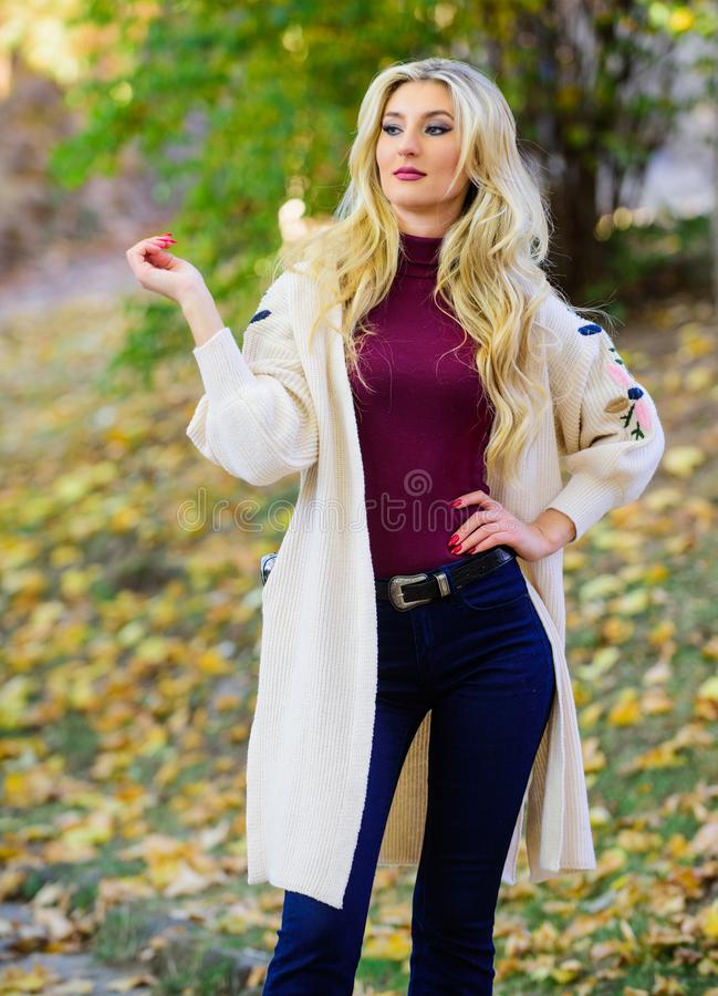 Fall fashion cozy cardigan. Autumn fashionable cardigan. Girl stylish outfit with soft wool or cashmere cardigan. Feel. So warm and comfortable. Woman wear long royalty free stock images