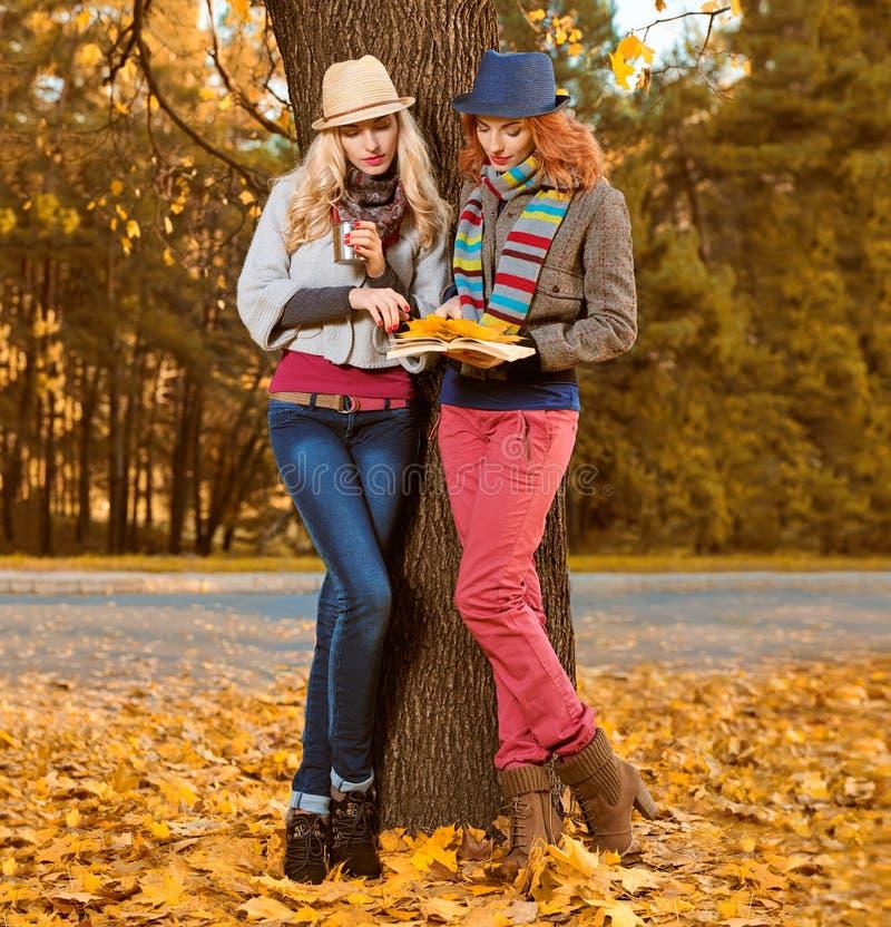 Fall Fashion. Friends Woman walk in Autumn park stock photo