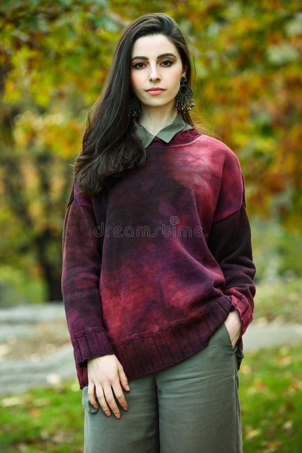 Fall fashion photo shoot with beautiful young brunette model. Fall fashion photo shoot with beautiful young brunette Caucasian model stock photography