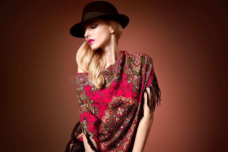 Fall Fashion. Woman in Autumn Shawl. Stylish Hat stock image