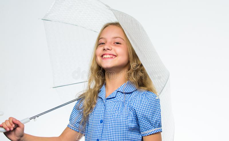 Fall favorite time of year. Fall rainy pleasant weather. Girl child ready meet fall weather with umbrella. Enjoy rainy. Days with umbrella accessory. Best fall stock photos