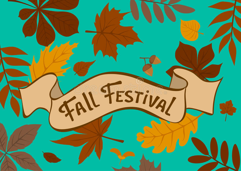 Fall festival autumn leaves background royalty free illustration