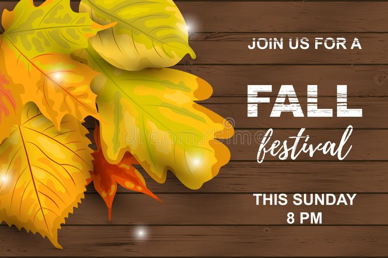 Fall festival with falling leaves. Fall festival. Autumn background with falling leaves on dark wooden background. Place for text. Great for party invitation vector illustration