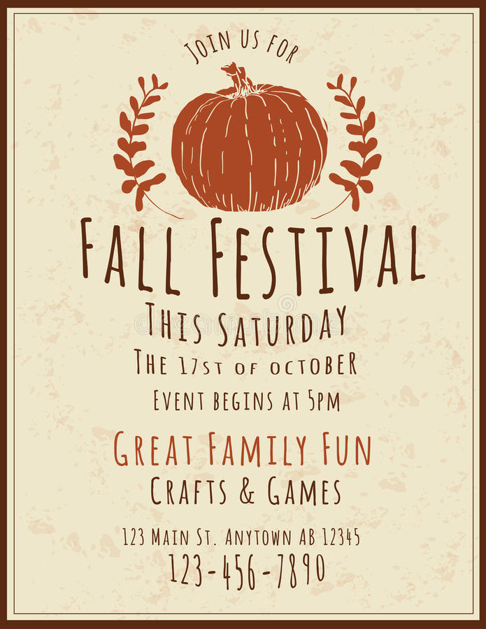 Fall Festival Flyer Template Stock Vector  Illustration Of Event