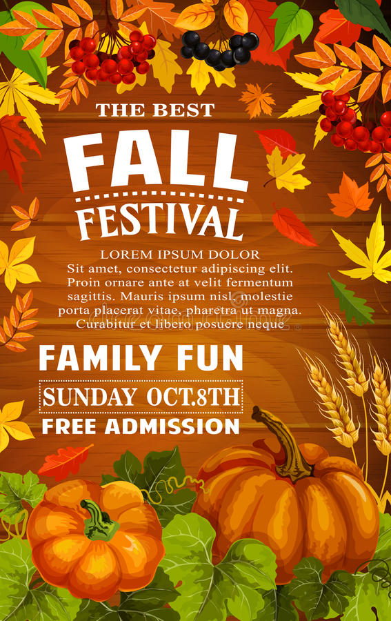 Fall festival poster of autumn harvest template. Fall festival poster with autumn harvest frame on wood background. Pumpkin vegetable and wheat, framed with fall vector illustration