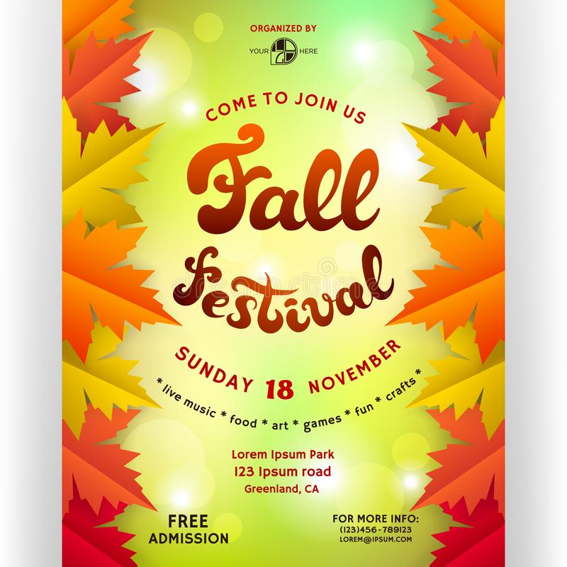 Fall festival poster design. vector illustration