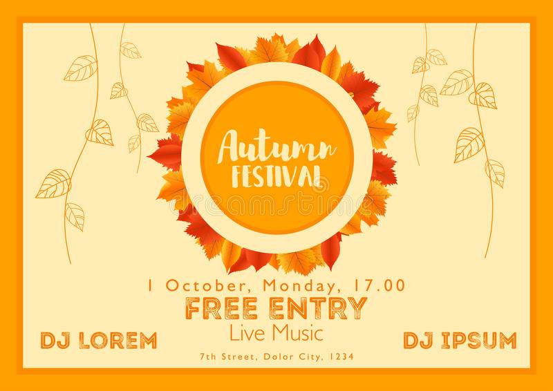 Fall Festival template. Bright colourful autumn leaves on horizontal background. Template for holidays, concerts and parties. Autumn theme royalty free illustration