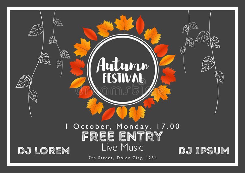 Fall Festival template. Bright colourful autumn leaves on horizontal background. Template for holidays, concerts and parties. Autumn theme stock illustration