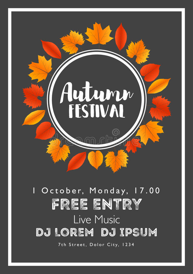 Fall Festival template. Bright colourful autumn leaves on vertical background. Template for holidays, concerts and parties. Autumn theme royalty free illustration
