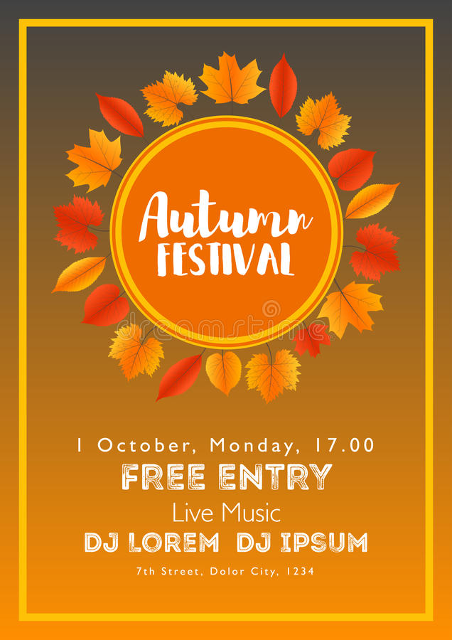 Fall Festival template. Bright colourful autumn leaves on vertical background. Template for holidays, concerts and parties. Autumn. Theme stock illustration