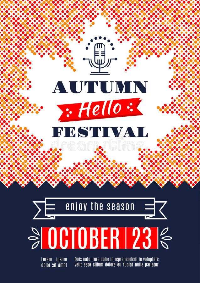 Fall Festival template posters A4 Background Maple Leaf. Fall Festival template posters. Autumn harvest festival. Colorful dotted background with a silhouette of royalty free illustration