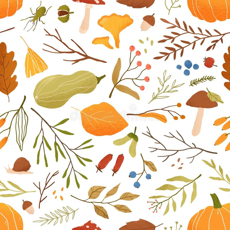 Fall flat vector seamless pattern. Autumn decorative background with pumpkins. Forest leaves and mushrooms texture. Fall vector illustration