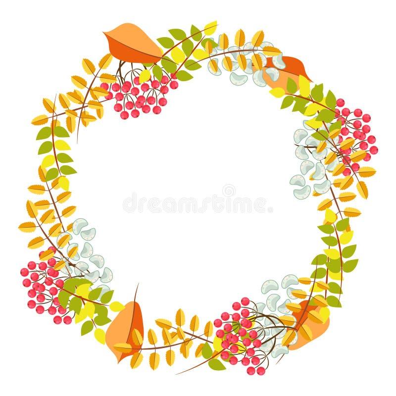 Fall floral bouquet wreath vector. vector illustration
