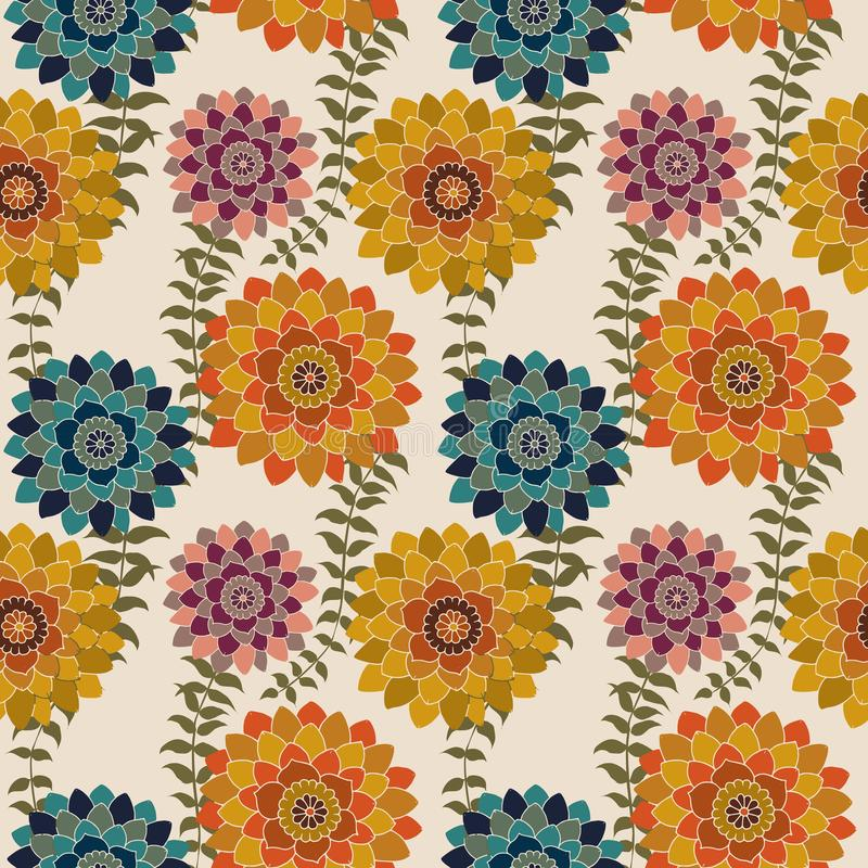 Fall Floral Seamless Pattern, Colorful Autumn flowers Surface Pattern Background Romantic Floral Repeat Pattern for textile design. Fabric printing, fashion stock illustration