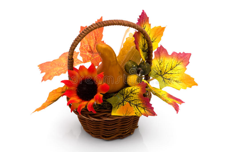Fall flower arrangement. A colorful fall flower arrangement isolate on white royalty free stock photo