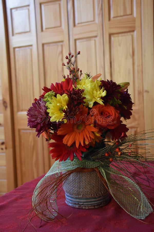Fall Flower Arrangement. Flower arrangement with Fall colors stock images