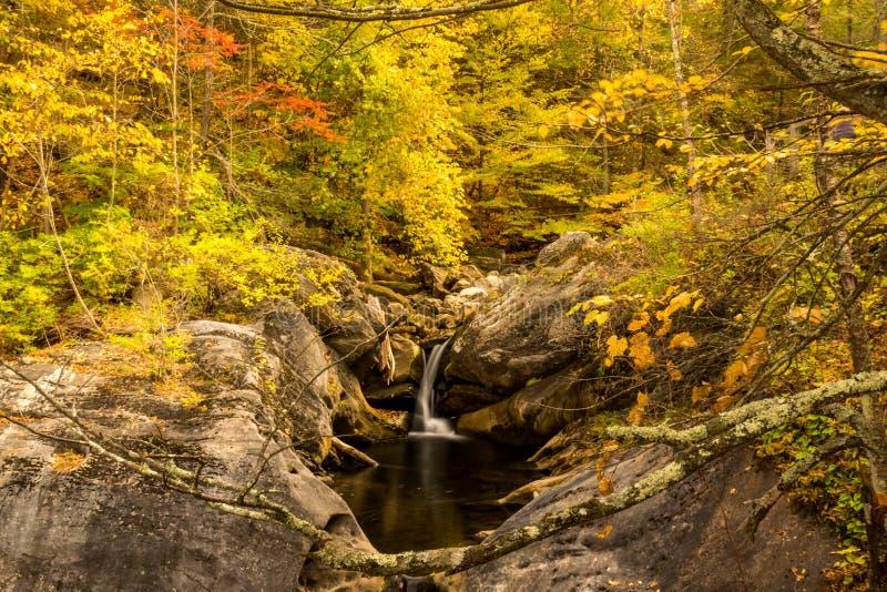 Fall Foilage umgibt Wasserfall lizenzfreie stockfotografie