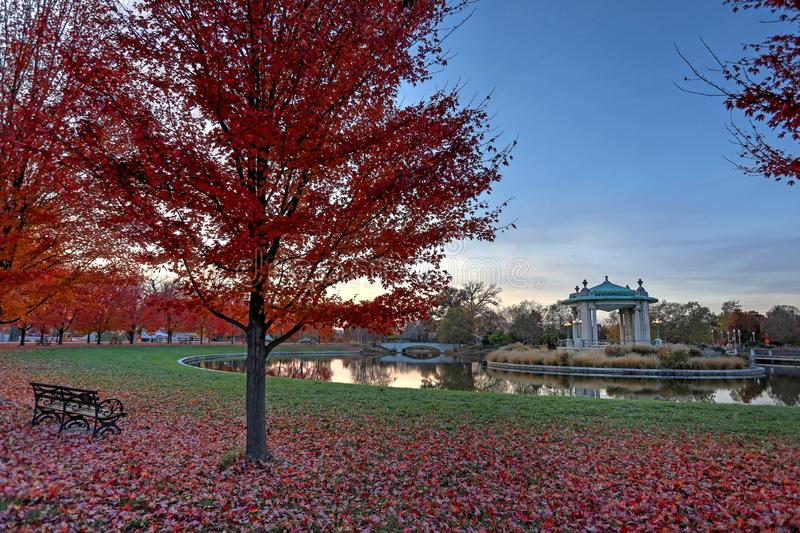 Fall foliage around the Forest Park bandstand in St. Louis, Missouri.  royalty free stock photos