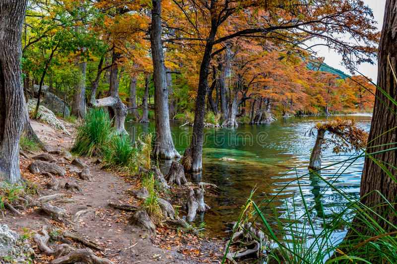 Fall Foliage and Clear Water of Garner State Park, Texas. Beautiful Fall Foliage Surrounding the Clear Frio River, Texas stock photo