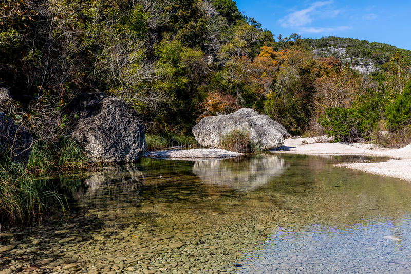 Fall Foliage at Lost Maples State Park in Texas. A Picturesque Scene with Fall Foliage on a Clear Pool on a Stream at Lost Maples State Park in Texas royalty free stock photography