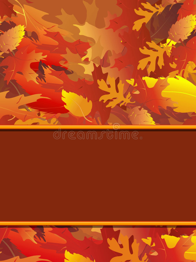 Fall Foliage Notecard. Vertical illustration of fall foliage with blank border for copy royalty free illustration