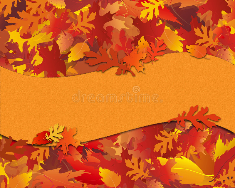 Fall Foliage Notecard with Banner. Illustration of fall foliage, sized for notecard with blank banner for text stock illustration