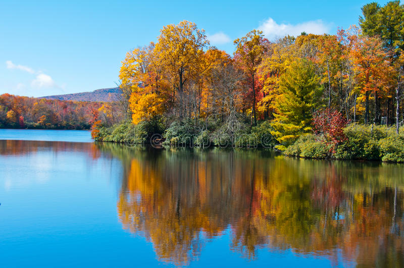 Fall foliage reflected in a lake, Blue Ridge Pkwy. royalty free stock images