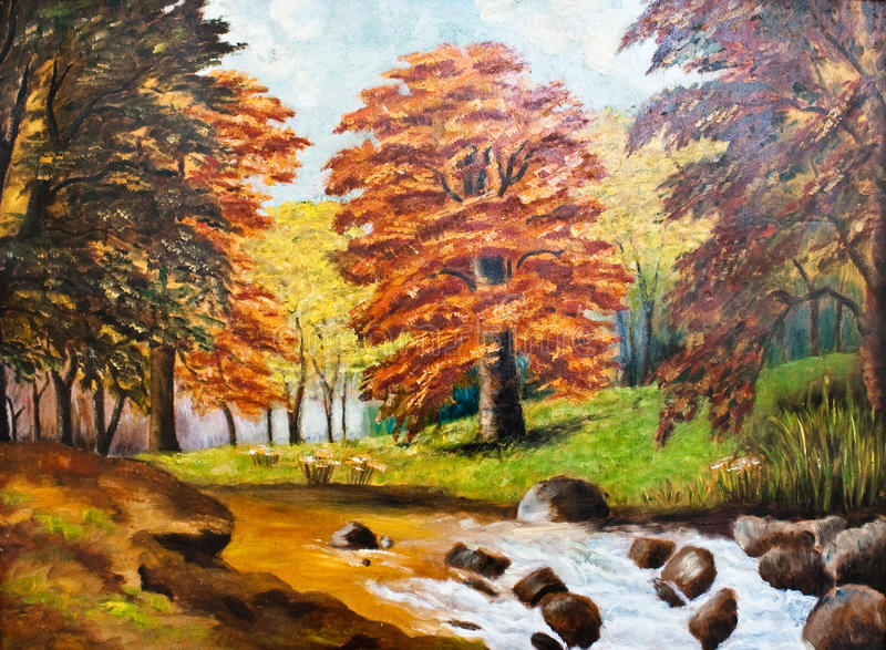 Fall forest oil painting stock images