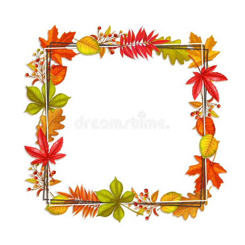 Fall frame with autumn foliage. Seasonal fall frame with autumn foliage of maple, oak, elm, chestnut and autumn berries. Vector illustration vector illustration