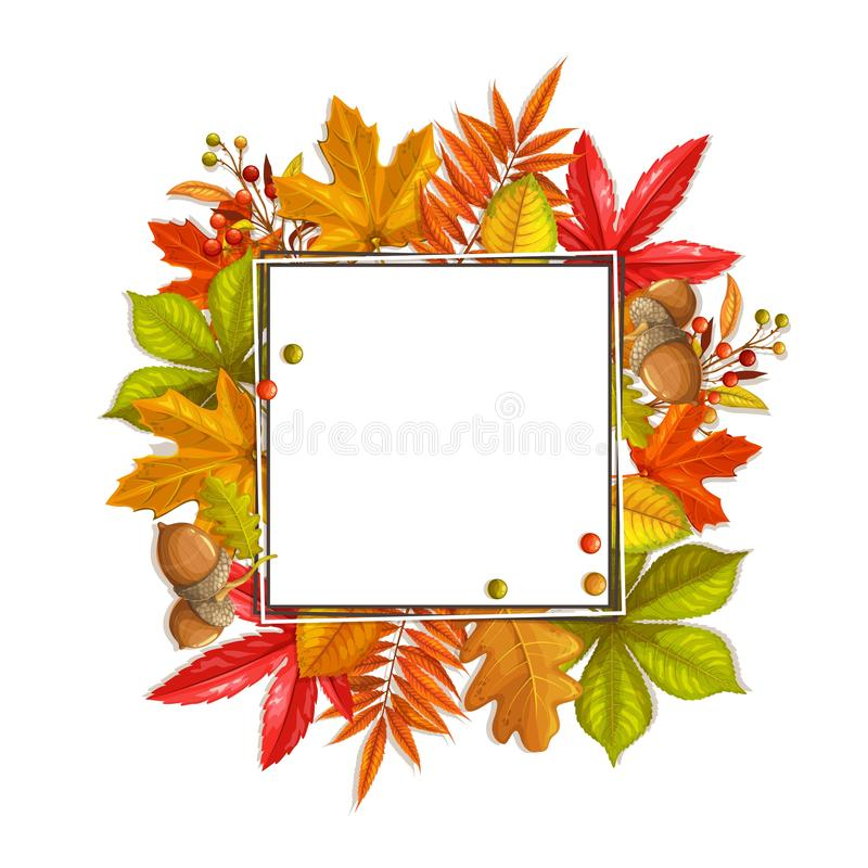 Fall frame with autumn foliage. Seasonal fall frame with autumn foliage of maple, oak, elm, chestnut and autumn berries. Vector illustration royalty free illustration