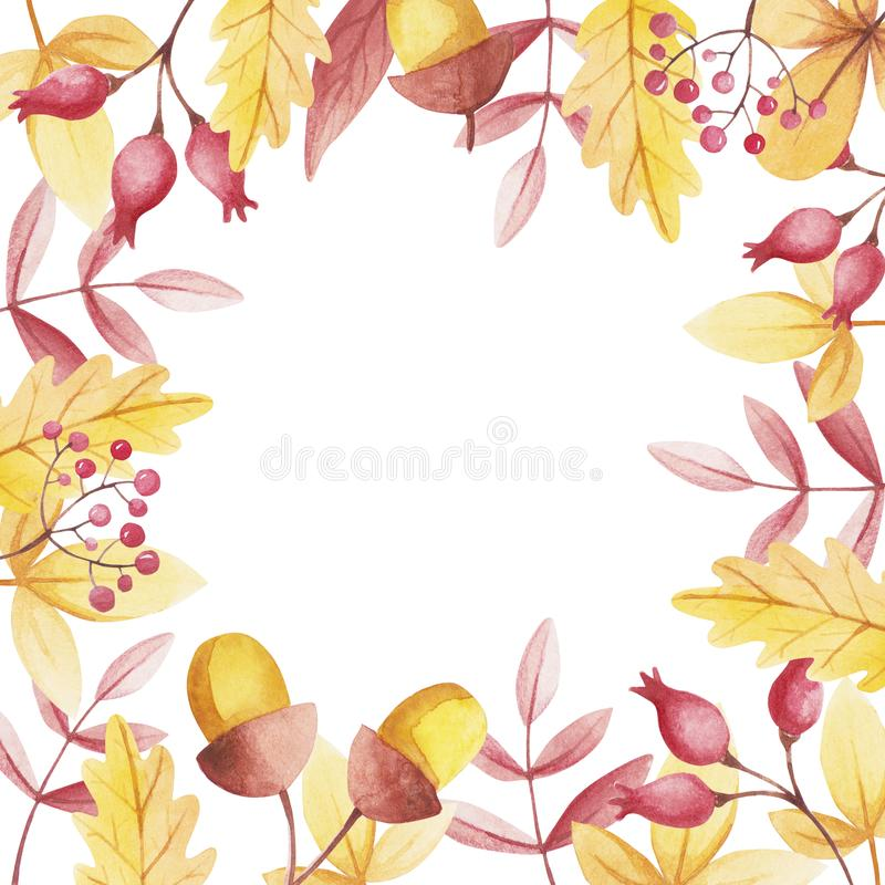 Fall frame for store sale. Watercolor leaves. stock illustration