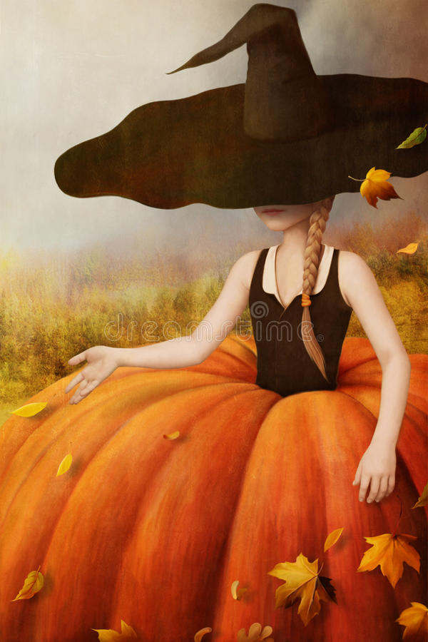 Fall girl. Autumn illustration, poster, computer graphics royalty free illustration