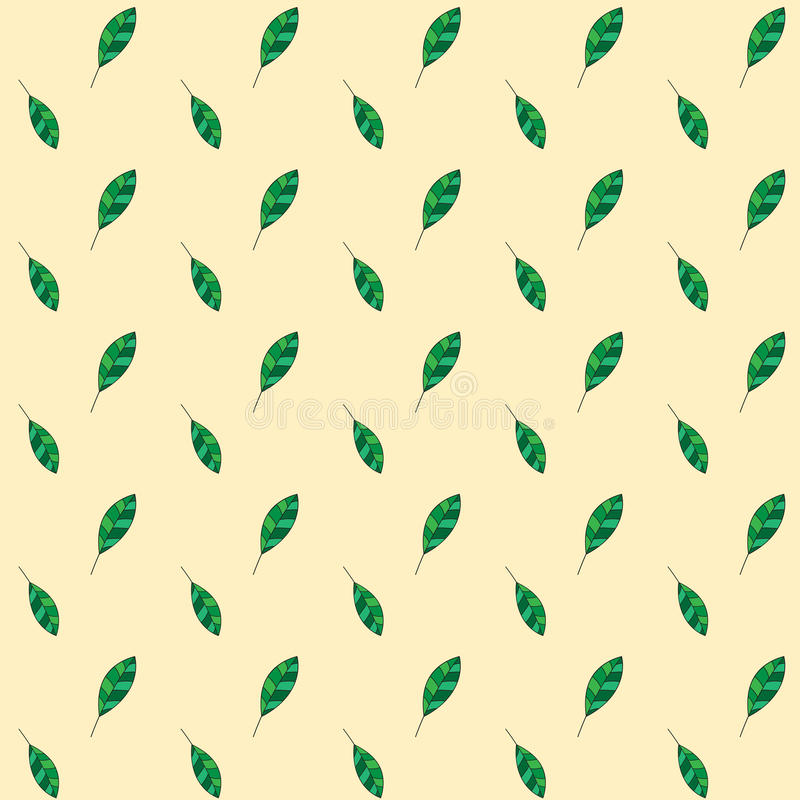 Fall of the green leaves on yellow background, seamless pattern, autumn or summer ornament. Vector seamless pattern, autumn or summer ornament fall of the green royalty free illustration