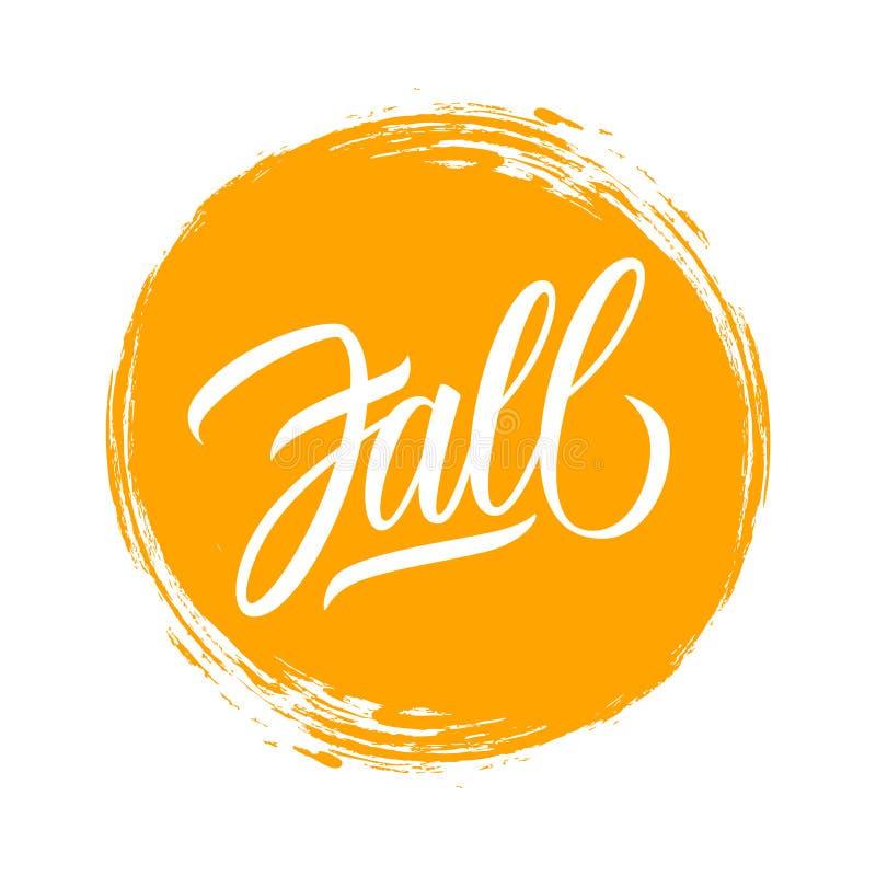 Fall hand drawn lettering text design on circle brush stroke background. Autumn season vector illustration royalty free illustration