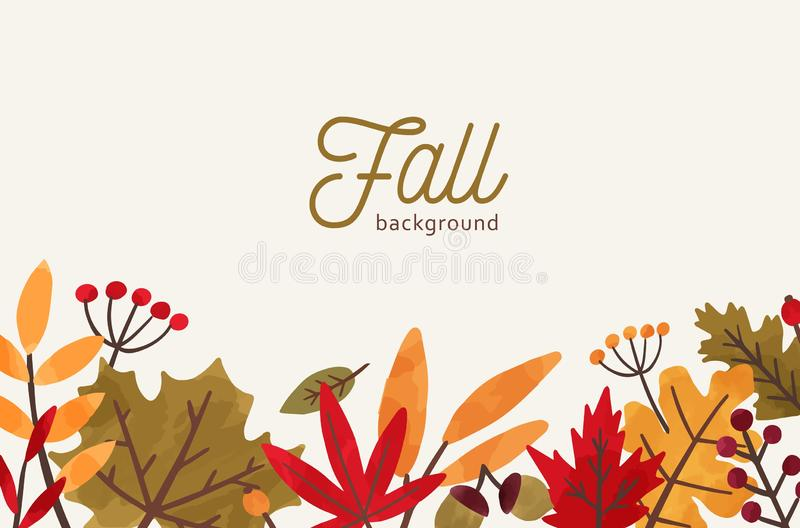 Fall hand drawn vector background. Autumn decorative illustration with leaves and place for text. Orange and red foliage. Drawing in flat style. Fall season royalty free illustration