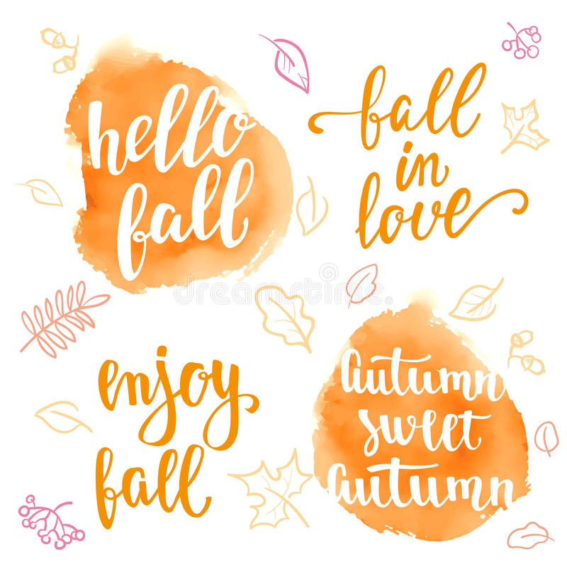Download Fall Handwritten Brush Calligraphy Quote And Autumn Motives.  Lettering And Decorative Leaves. Stock