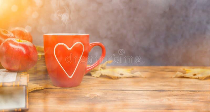Fall harvest cornucopia. Cup of Hot apple tea for Autumn season warm drink. royalty free stock photo