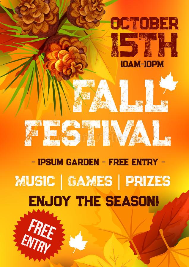 Free Fall Harvest Festival, Autumn Party Banner Design Royalty Free Stock Images - 97730189