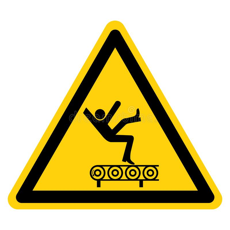 Fall Hazard From Conveyor Symbol Sign Isolate On White Background,Vector Illustration. Above, accident, area, belt, blade, chain, cog, cogwheel, crush, cut vector illustration