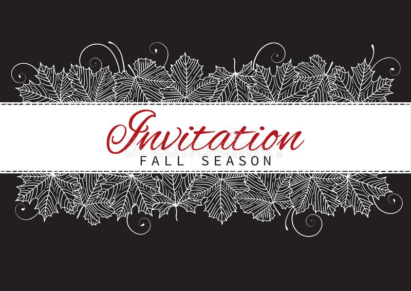 Fall Invitation Card Design with Leaves on black background stock illustration