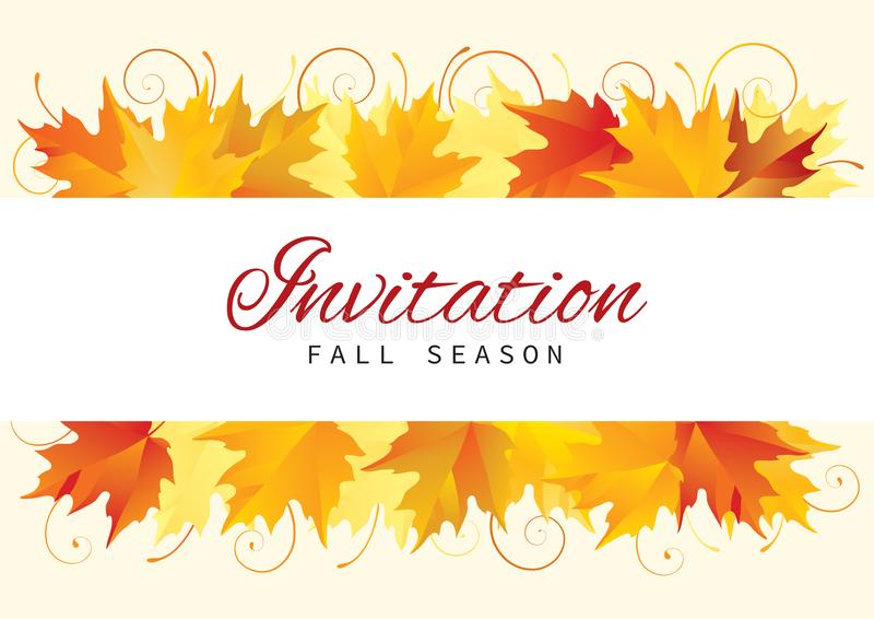 Fall Invitation Card Design with Leaves vector illustration
