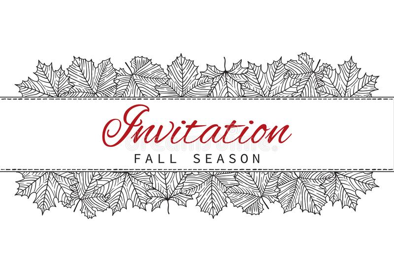 Fall Invitation Card Design with Leaves on white background stock illustration